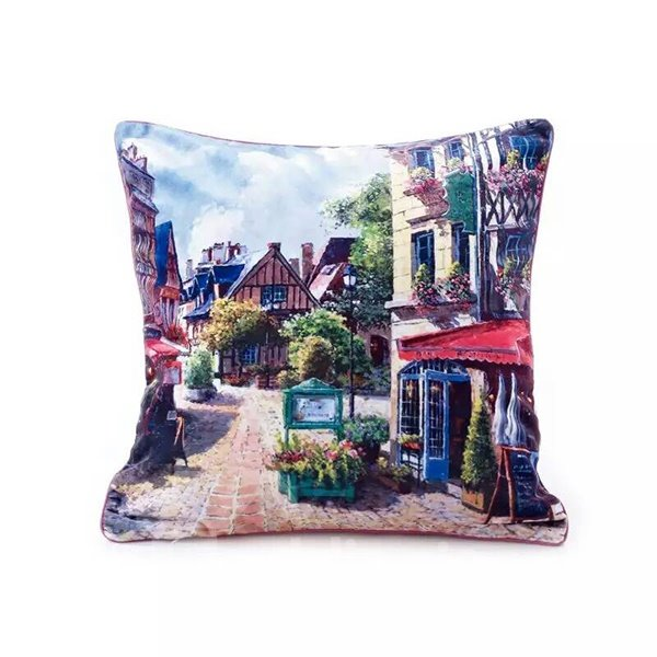 Neat Streetscape of European Town Paint Throw Pillow Case