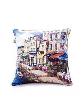 Norwegian Streetscape Paint Throw Pillow Case