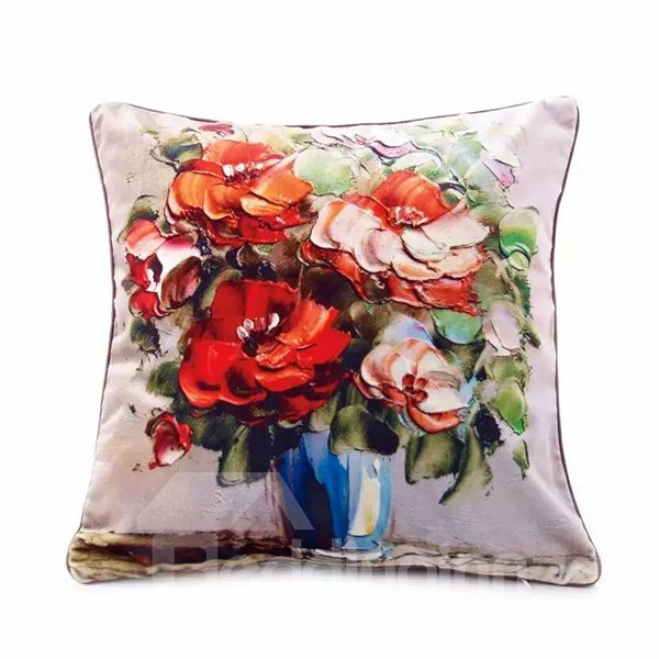 3D Colored Flowers Oil Painting Pattern Throw Pillow Case