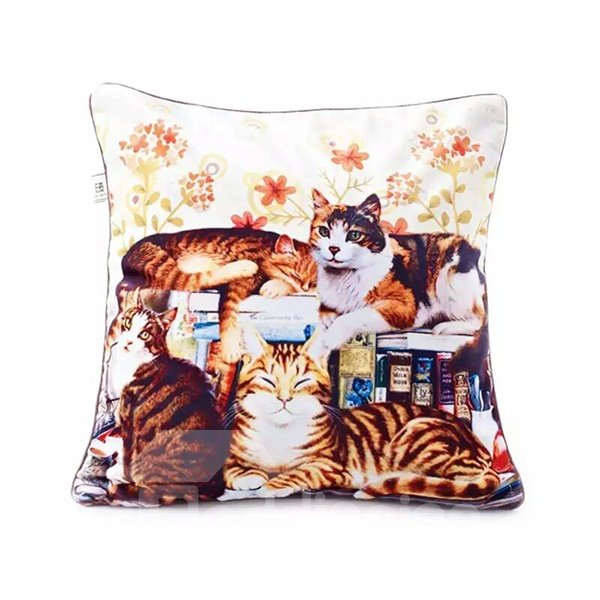Pretty Lazy Cats Paint Throw Pillow Case