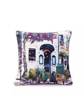 European Style Restaurant Paint Throw Pillow Case