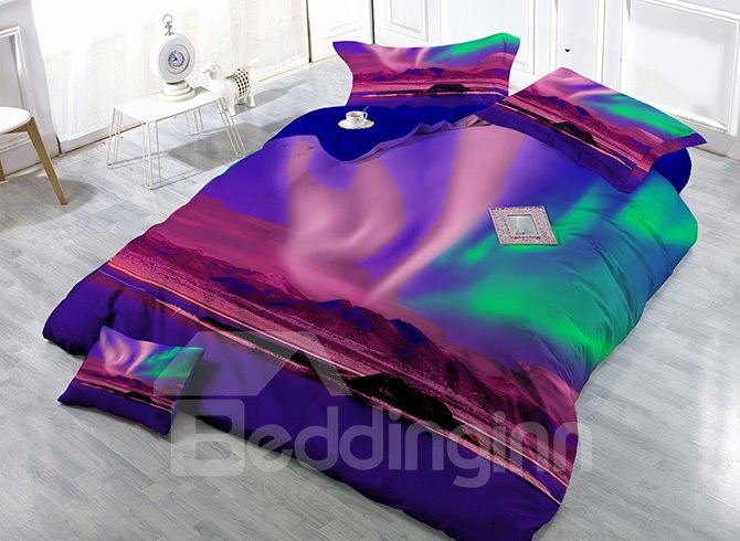 Florid Aurora Digital Printing Satin Drill 4-Piece Duvet Cover Sets