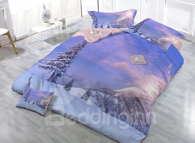 Purple Snowfield Scenery Satin Drill 4-Piece Duvet Cover Sets