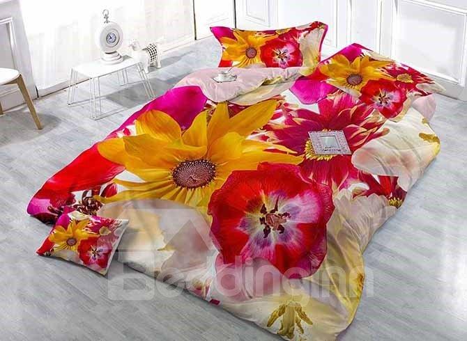 Superb Satin Drill Floral Digital Printing 4-Piece Duvet Cover Sets