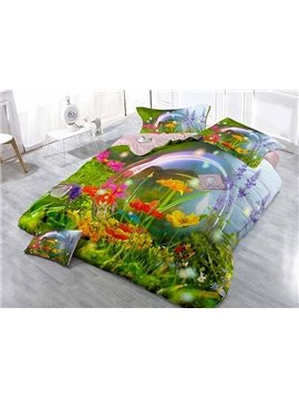 Pastoral Grassland Scenery Printing Satin Drill 4-Piece Duvet Cover Sets