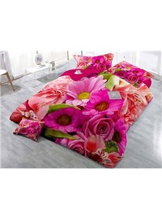 Florid Roses and Daisies Printing Satin Drill 4-Piece Duvet Cover Sets