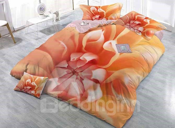 Muted Apricot Colored Flower Printing Satin Drill 4-Piece Duvet Cover Sets 11679851