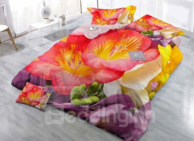 3D Vibrant Flowers Digital Printing Upscale Satin Drill 4-Piece Duvet Cover Sets 11679852