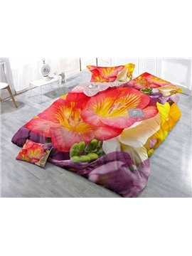 3D Vibrant Flowers Digital Printing Upscale Satin Drill 4-Piece Duvet Cover Sets