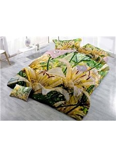 3D Yellow Lilies Printing Soft Satin Drill 4-Piece Duvet Cover Sets
