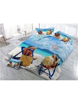 Leisurely Couple on Holiday Digital Printing Satin Drill 4-Piece Duvet Cover Sets