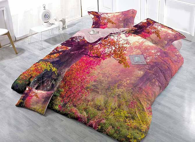 3D Natural Forest Scenery Digital Printing Satin Drill 4-Piece Duvet Cover Sets