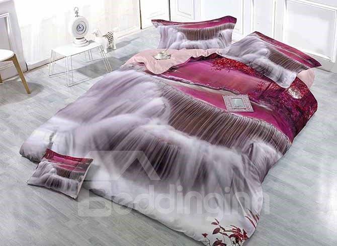 Dreamlike Purple Waterfall Digital Printing 4-Piece Satin Drill Duvet Cover Sets