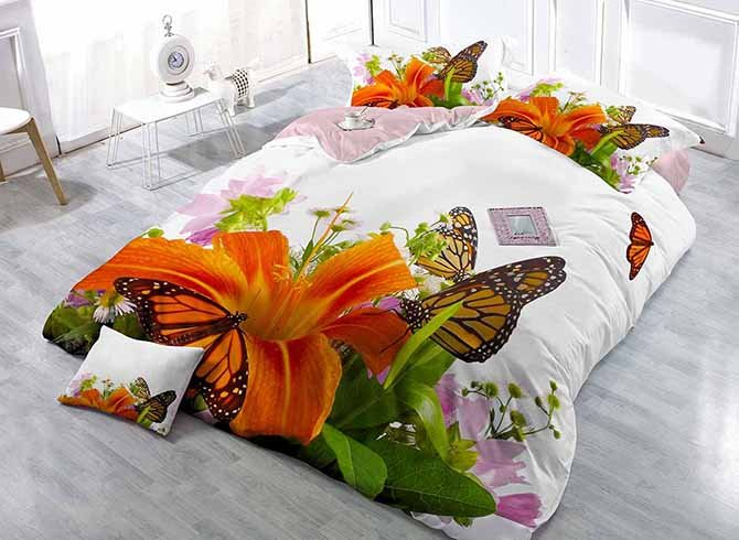 Pretty Butterfly and Lily Digital Printing 4-Piece Duvet Cover Sets