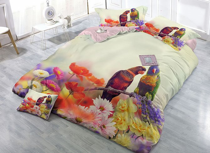 Parrots and Flowers Digital Printing High Density Satin Drill 4-Piece Duvet Cover Sets 11679869