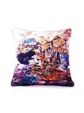 Attractive Colored Floral Paint Throw Pillow Case