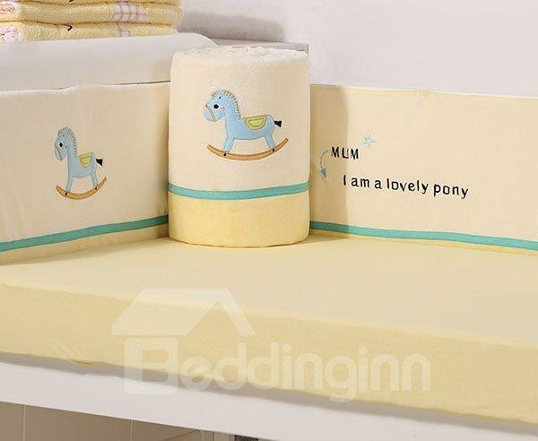 Lovely Pony Print 7-Piece Cotton Baby Crib Bedding Set