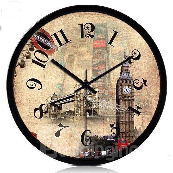 Fashion Creative European Building Wall Clock