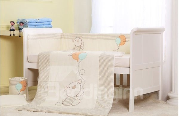 Big Bear and Balloon Print 7-Piece Cotton Baby Crib Bedding Set