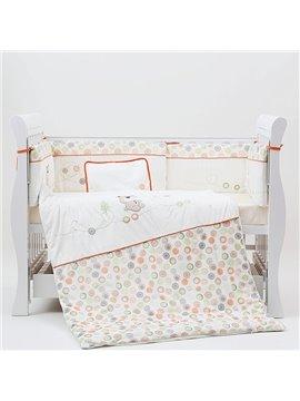 Lovely Bear and Polka Dot Pattern 7-Piece Cotton Baby Crib Bedding Set