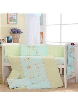 Fresh Light Green Giraffe Print 7-Piece Cotton Baby Crib Bedding Set