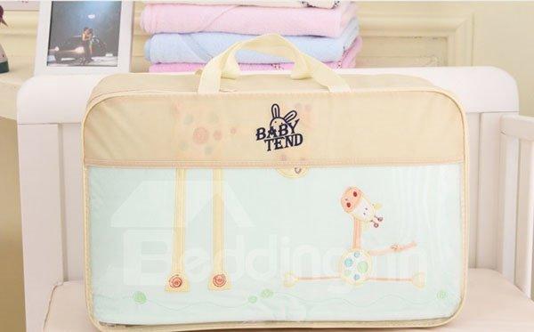 Fresh Light Green Giraffe Print 7-Piece Cotton Baby Crib Bedding Set