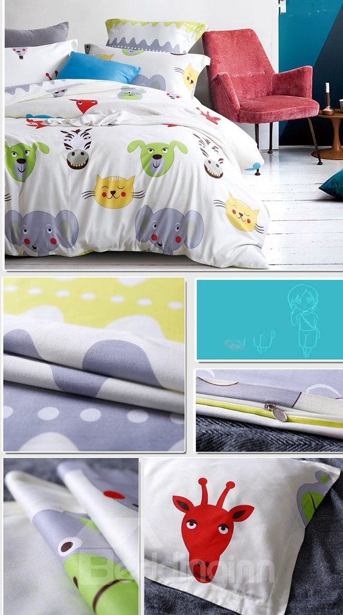 Cute Animals Printing 4-Piece Duvet Cover Sets