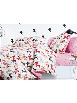 Colorful Horses Printing 4-Piece Duvet Cover Sets