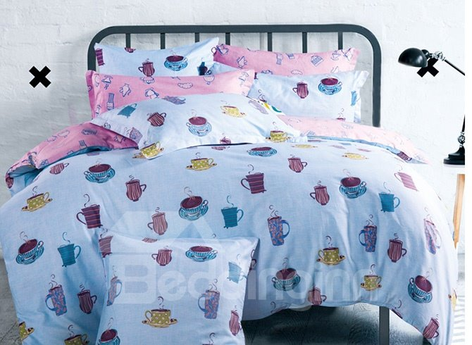 Blue Cups Printing 4-Piece Duvet Cover Sets