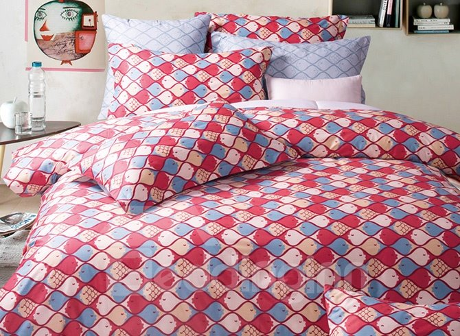 Lovely Fish Printing 4-Piece Duvet Cover Sets