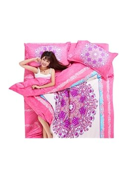 Luxury Pink Flowers 4-Piece Duvet Cover Sets