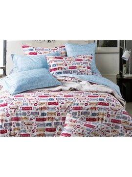 Cute Cartoon Printing 4-Piece Duvet Cover Sets