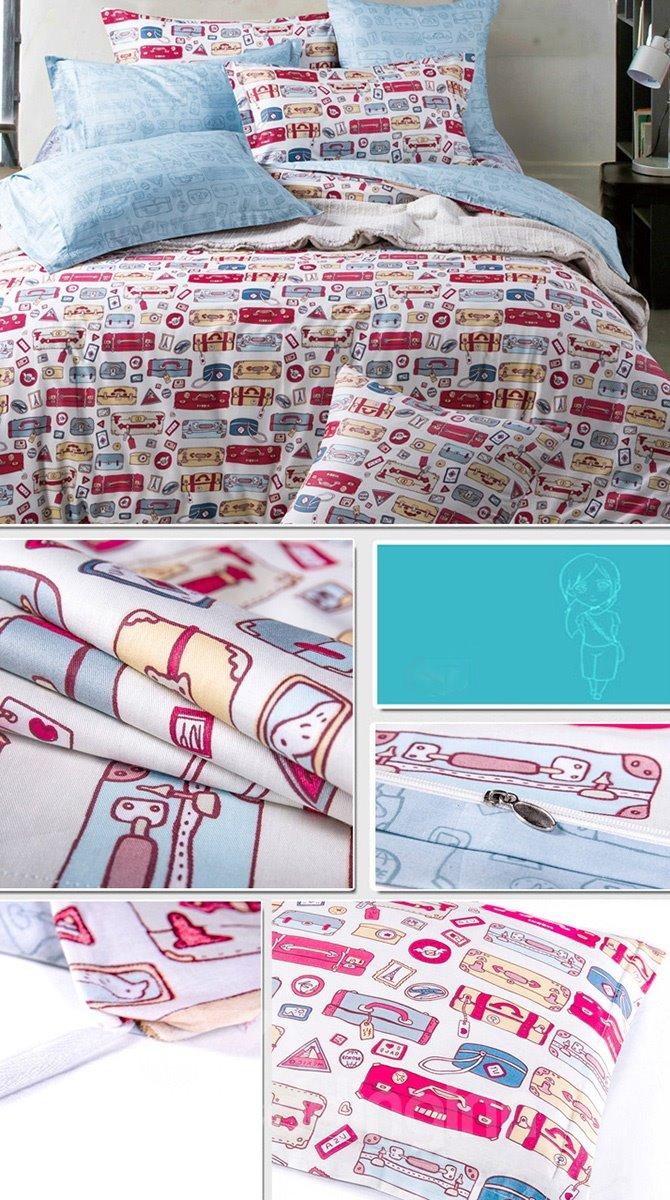 Cute Cartoon Printing 4-Piece Duvet Cover Sets