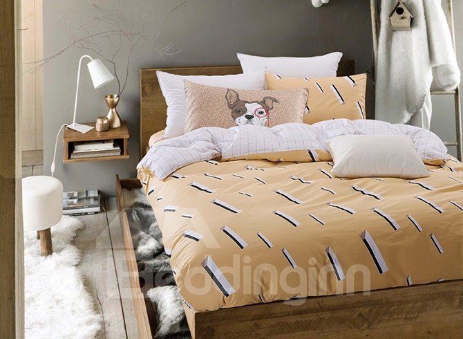 Yellow Geometric Printing 4-Piece Duvet Cover Sets