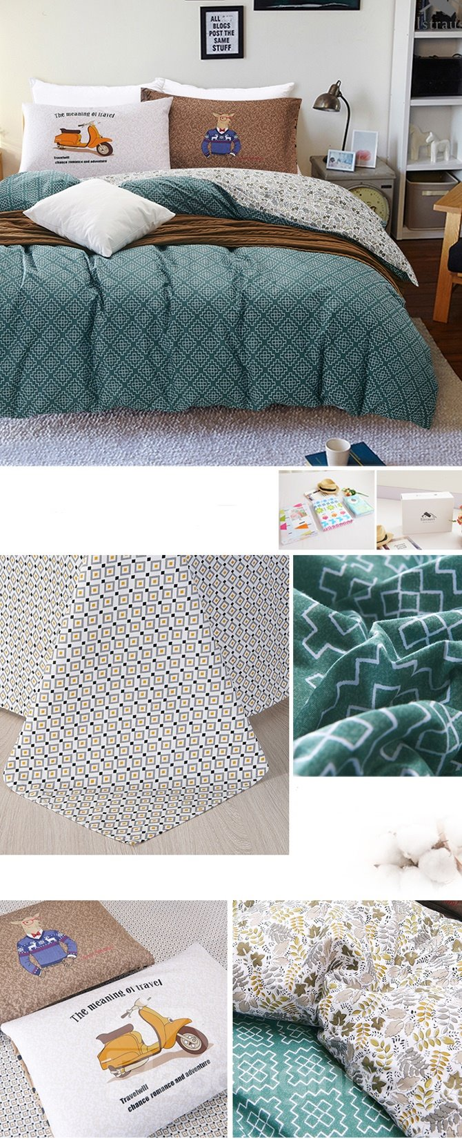Plain Blue Geometric Printing 4-Piece Duvet Cover Sets
