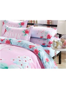 Beautiful Pink Flowers 4-Piece Duvet Cover Sets