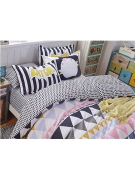 Colorful Triangles Printing 4-Piece Duvet Cover Sets