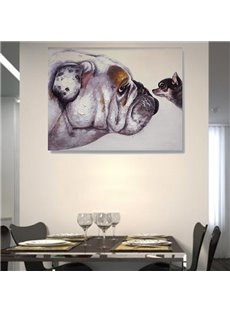 Simple Cute Dogs Hand Painted Wall Prints for Dining Room