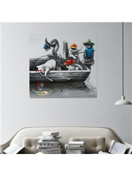Abstract Hand-Painted Wall Prints with Cat Fishing Scenery