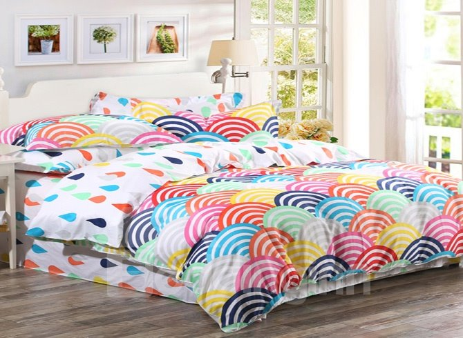 Colorful Rainbow And Raindrops 4-Pieces Bedding Sets
