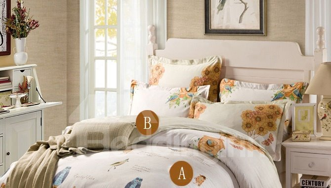 Full Of Beautiful Daydream 4-Piece 100% Cotton Duvet Cover Sets