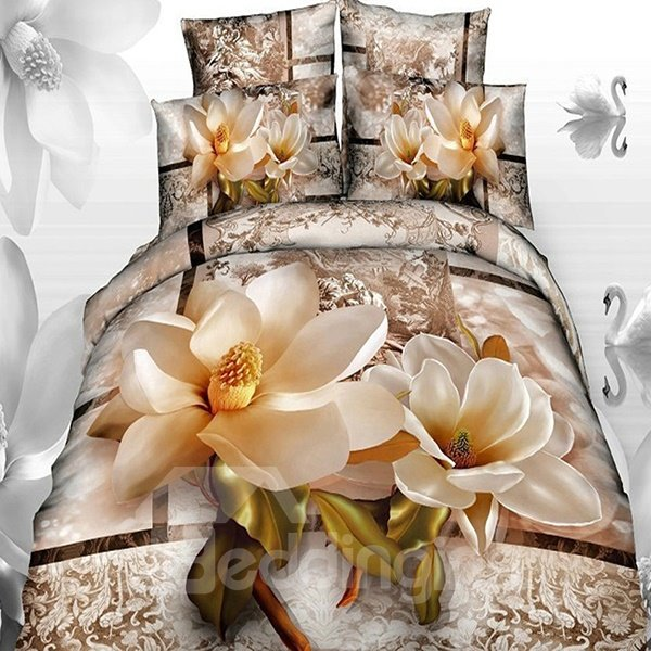 Graceful Magnolia with Paisley Flower Print Cotton Fitted Sheet