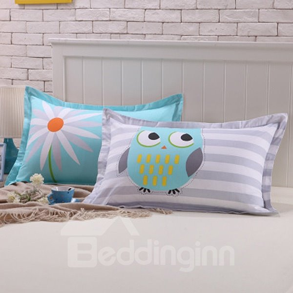 New Arrival Cute Cartoon Owl Pattern Cotton 2-Piece Pillow Cases - beddinginn.com