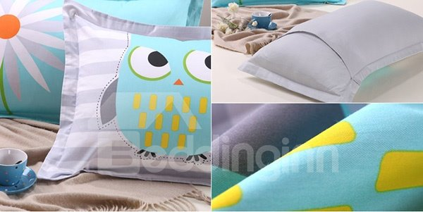 New Arrival Cute Cartoon Owl Pattern Cotton 2-Piece Pillow Cases