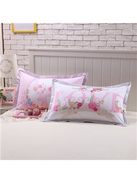 Excellent Pink Letters Print Cotton 2-Piece Pillow Cases