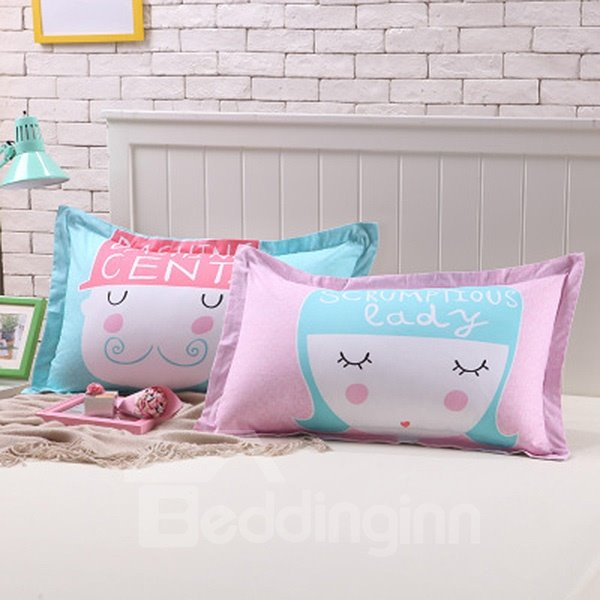 Fancy Mr and Mrs Design Couple Bedding Cotton Pillow Cases
