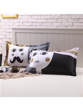 High-grade Mr and Mrs Design Couple Bedding Cotton Pillow Cases