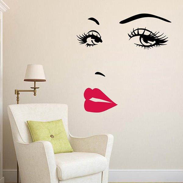 Pretty WaterProof Woman Beauty Face Pattern Wall Stickers