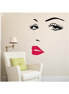 Pretty WaterProof Woman Beauty Face Pattern Wall Stickers