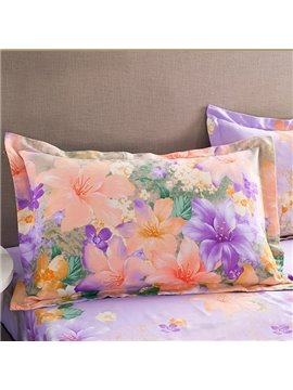 Elegant Glamorous Flowers Design Cotton 2-Piece Pillow Cases